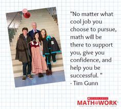 Tim Gunn with aspiring fashion designers and their work. They're on set for the filming of the premiere episode of our new web series, Math at Work, featuring Tim Gunn and Diane Von Furstenberg! Click to watch. #math #Fashion #MathatWork