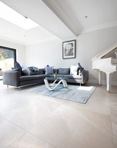 Beautifully coastal Arlington Light Mist Stone Effect Porcelain Tiles. Beige porcelain tiles in a range of sizes. Stone Tile Flooring, Grey Flooring, Stone Tiles, Floors, Modern Floor Tiles, Kitchen Floor Tiles, Large Kitchen Tiles, Large Floor Tiles, Grey Floor Tiles