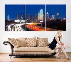 ART Canvas Print - Texas Dallas Skyline Black & White Night Cityscape, Dallas Large Canvas Print, Texas Dallas City Art Canvas Print