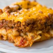 Johnny Marzetti Casserole, the classic Midwest dish that is the perfect comfort food! Beef, noodles, cheese & mushrooms make one great casserole!