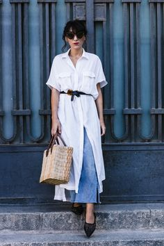 White Tunic + Jeans  Capazo  Cat Eye Sunglasses Braided Shoes  http://www.laflorinata.com/2017/09/look-del-dia-tunica-blanca-jeans.html