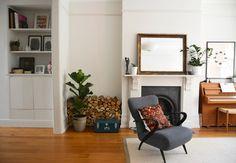 piano, chair, wood pile. Living With Kids: Courtney Adamo