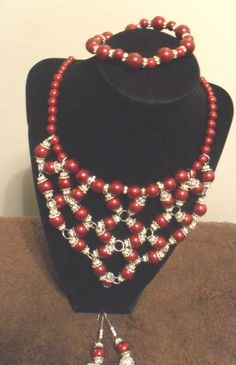 3 Piece Burgandy Faux Pearl Necklace Set Bracelet Earrings #ShesGifted