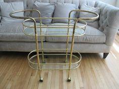 SALE Mad Men Brass Bar Cart Vintage serving/tea cart Hollywood Regency via Etsy Hollywood Regency, Chinoiserie, Brass Bar Cart, Vintage Bar Carts, Tea Cart, Mad Men, Gatsby, 1950s, Storage