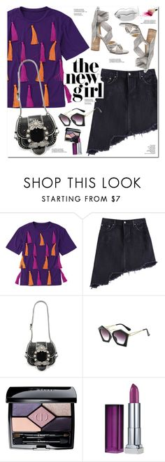 """Tassel Short Sleeve T-Shirt"" by oshint ❤ liked on Polyvore featuring Miu Miu, Christian Dior, Maybelline and STELLA McCARTNEY"