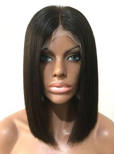 Full Lace Wigs|Lace Front Wigs|Lace Wigs @ RPGSHOW Blunt Cut Bob Black Hair Glueless Full Lace Wig - BOB008-s [BOB008] - hair color: #1 hair length: 12
