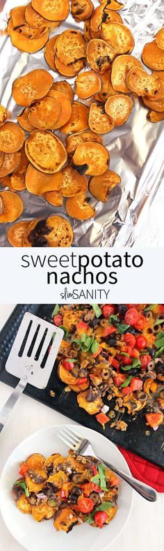 Potato Nachos Sweet potato nachos loaded with taco meat, veggies and cheese. The perfect healthy weekend treat! Sweet Potato Nachos, Sweet Potato Recipes, Mexican Food Recipes, Vegetarian Recipes, Healthy Recipes, Simple Recipes, Clean Eating Recipes, Cooking Recipes, Cheese Recipes