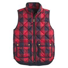Gifts for Her: J.Crew women's excursion lightweight down quilted vest in red and navy buffalo check.
