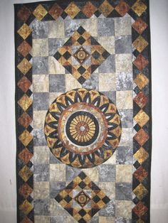 Quilted table runner Geometric  Mosaic Tiles by KellettKreations