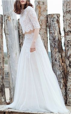 Costarellos Bridal Spring Summer 2016 Look 1 on Moda Operandi