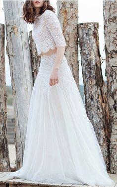 Costarellos Bridal Spring Summer 2016 Look 1 on Moda Operandi