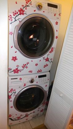 Decorated my washer and dryer Laundry Room Decals, Laundry Rooms, Stacked Washer Dryer, Washer And Dryer, Contact Paper, Funky Furniture, Vinyl Projects, Stole, Room Ideas