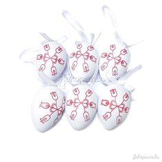 Húsvéti dekorációnkat jól variálhatjuk letisztult dizájnú dekorációs elemekkel is, így az egyik remek kiegészítő ötletünk 6 db-os fehér alapon piros tulipán mintájú húsvéti tojás.