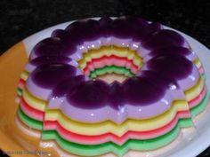 Gelatina colorida, aprenda a fazer gelatina colorida em camadas