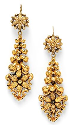 Earrings; Antique, French, 18K Gold, Flowerhead Drops. Circa 1801 -1900