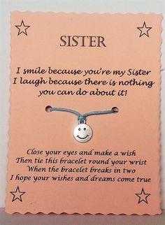 Sister Wish Bracelet Keepsake Gift, Sister Quotes Jewellery Gift, String Bracelet, Charm Bracelet, Sister jewellery