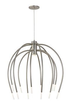 The Tallo 12 chandelier light by LBL Lighting is a soft, contemporary take on a traditional chandelier. Inspired by a waterfall, the graceful curving arms flow downward and are finished with an LED illuminated acrylic tip to accent the central LED module shining down from the crown. In a Satin Nickel Finish with a Clear Cord