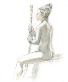 Seated Female Figure Painting by Kathleen Ney, Drawing - Pen & Ink | Zatista