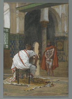 Christ Painting - Jesus Before Pilate by Tissot Art Prints, Jesus Art, Bible Illustrations, Painting, Bible Art, Crucifixion, Art, Catholic Art, Sacred Art