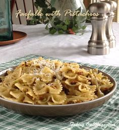 Farfalle with Pistachio Nuts | Taking On Magazines | www.takingonmagazines.com | The pistachio nuts add a delicious flavor that pairs beautifully with the pecorino cheese in this Italian pasta dish.