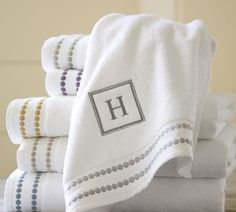Pearl Embroidered 700-Gram Weight Bath Towels   Pottery Barn
