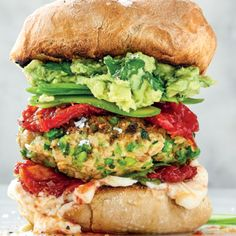Butter bean-and-pea burgers with smashed avocado Peanut Butter Energy Bites, Keto Peanut Butter Cookies, Pumpkin Fritters, Chickpea Fritters, Vegan Burgers, Salmon Burgers, Canned Butter, Dry Chickpeas, Vegan Meatballs