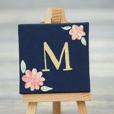 Mini Canvas und Staffelei mit Goldinitial by BlueDogwoodBoutique, BlueDogwoodBoutique ca. : Mini Canvas und Staffelei mit Goldinitial by BlueDogwoodBoutique, BlueDogwoodBoutique canvas Goldinitial kunstleinwand Mini mit Staffelei und Mini Canvas St Small Canvas Paintings, Easy Canvas Art, Small Canvas Art, Easy Canvas Painting, Mini Canvas Art, Cute Paintings, Heart Painting, Diy Canvas, Diy Painting