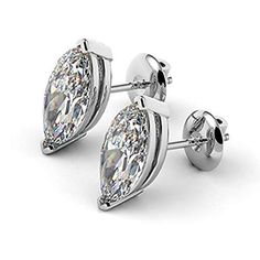 Shop Carat Marquise Cut Diamond Studs Solitaire Earrings Real Solid White Gold 1 Pair for Christmas Gifts, Black Friday Sale, Thanksgiving Gifts. Diamond Studs, Diamond Rings, Gemstone Rings, Solitaire Earrings, Stud Earrings, Cufflinks, Amazon, White Gold, Women's Rings