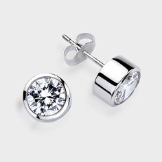 1 0 Ct Each Round Bezel 14k Stud Earring High Quality Cubic Zirconia Earrings
