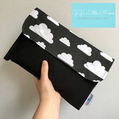 Clouds on black nappy diaper clutch bag Purse baby