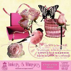 A Tinge of Pink Digital Scrapbook Bundle - Instant Download