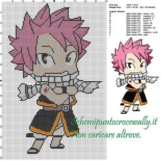 Natsu (Fairy Tail) schema punto croce 100x151 10 colori