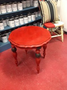 Small round table done in emperors silk Annie Sloan paint! graphite on the legs! clear and dark wax. Round Tables, Dark Wax, Annie Sloan, Table And Chairs, Vanity Bench, Chalk Paint, Graphite, Legs, Silk
