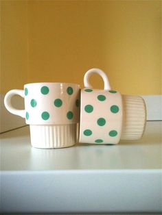 vintage set of teal polka dot mugs $16.99 from ModHaza on Etsy