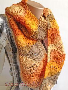 CHRISTMAS gift Crocheted Scarf / Orange warm от ElenaVorobey