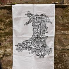 Welsh Names Map Tea Towel
