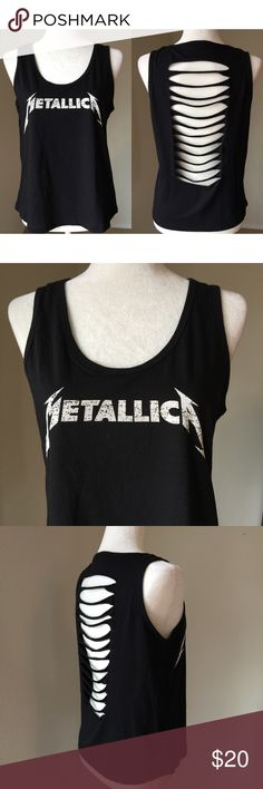 """""""Metallica"""" Tank Metallica rock band theme tank top with a white logo in the front and a ripped caged back. Fabric is 100% cotton. Bravado Tops Tank Tops"""