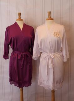 Lace Trimmed Ladies Robes- Monogrammed Robes with 3 Letter initials-Christmas Gifts for Mom, Daughter or Special Lady! Christmas Gifts For Mom, Bridesmaid Robes, Color Show, Lace Trim, Korean Fashion, Initials, Silk, Trending Outfits, Lady