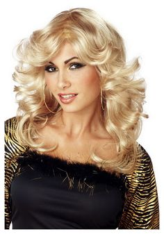 70/'s Feathered Wig Farrah Disco Fancy Dress Halloween Costume Accessory 3 COLORS