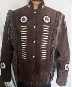 Men's Clothing Vintage Handmade Native American Western Suede Mens Jacket Bone Buttons Tan 2019 Latest Style Online Sale 50%