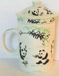 Panda Bear Tea Infuser Mug Tall Cup Leaf Strainer Lid White Black Green
