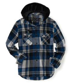 Long Sleeve Hooded Plaid Woven Shirt