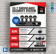 This CCTV Promotional Product Flyer Design has been develop to boost your marketing campaign. Flyer Design Templates, Psd Templates, Promo Flyer, Cctv Security Systems, Cctv Surveillance, Camera Shop, Marketing Opportunities, Social Media Design, Videos