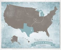United States map, Travel Map, US Map Art Print, Road Trip Map, Custom Family Love Map