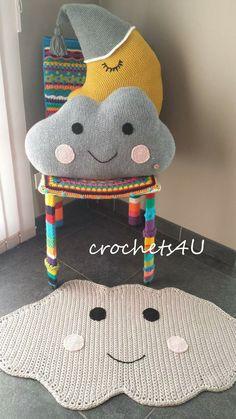 #maan #wolk #haken #tapijt #kussen www.crochets4U.be