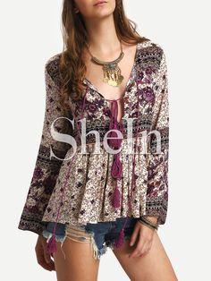 blouse vintage avec franges -multicolore -French SheIn(Sheinside)