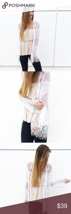 | new | white lace cardigan offers welcome new with tag white sheet lace cardigan. modeling size medium. •860856• Sweaters Cardigans