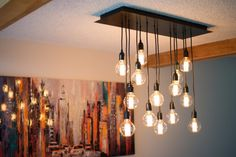 Handmade 14 Pendant Rectangular Canopy Chandelier with Edison Globe Bulbs