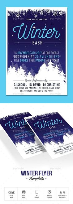 Winter Party Flyer  Winter Parties Party Flyer And Flyer Template