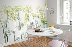 bonito papel de pared para cocina de flores